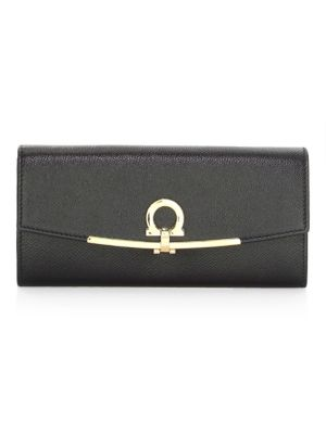 Icona Leather Continental Wallet W/ Hanging Id Tag, Black