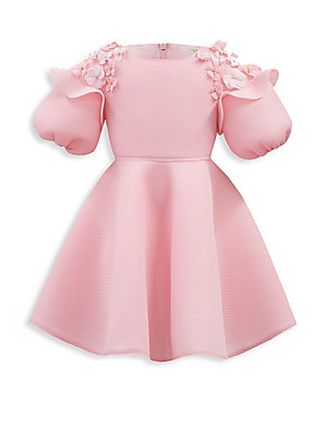 Image of Adorable dress enhanced with floral appliqué Roundneck Elbow-length sleeves Concealed back zip Polyester Hand wash Made in UK. Children's Wear - Classic Children. David Charles. Color: Pink. Size: 2.