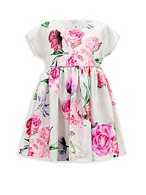 Image of Adorable dress with an enormous floral design Roundneck Short sleeves Concealed back zip Polyester Hand wash Made in UK. Children's Wear - Classic Children. David Charles. Size: 3.