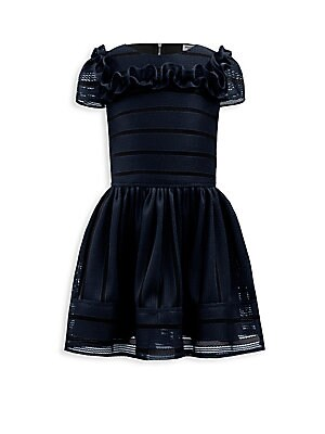 Image of Adorable striped techno dress with ruffle detailing Roundneck Short sleeves Exposed back zip Polyester Hand wash Made in UK. Children's Wear - Classic Children > Saks Fifth Avenue. David Charles. Color: Navy. Size: 3.
