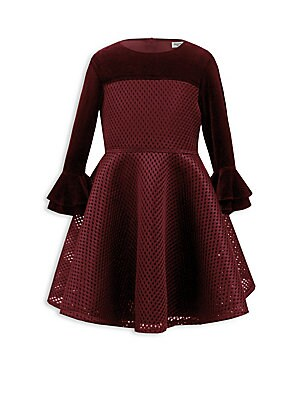 Image of Adorable dress enhanced with tiered bell cuffs Roundneck Long sleeves Bell cuffs Concealed back zip Polyester/lycra Hand wash Made in UK. Children's Wear - Classic Children. David Charles. Color: Wine. Size: 4.