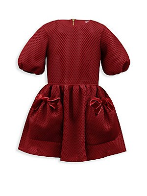 Image of Adorable diamond techno dress with ribbon detailing Roundneck Elbow-length sleeves Exposed back zip Front pouch pockets Polyester Hand wash Made in USA. Children's Wear - Classic Children. David Charles. Color: Wine. Size: 2.