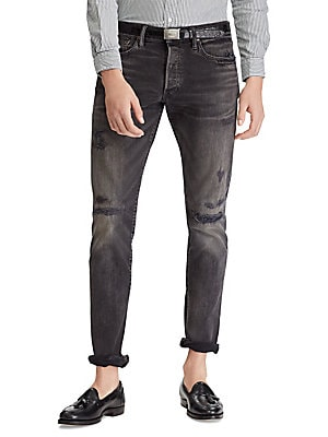 Image of Trim at the seat and the thigh and with a tapered leg, this slim jean offers a lean silhouette with room to move. These medium-weight jeans are woven and repaired for a rugged, worn-in look. Belt loops Button fly with signature shank closure Five-pocket s