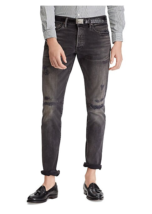 Image of Trim at the seat and the thigh and with a tapered leg, this slim jean offers a lean silhouette with room to move. These medium-weight jeans are woven and repaired for a rugged, worn-in look. Belt loops. Button fly with signature shank closure. Five-pocket