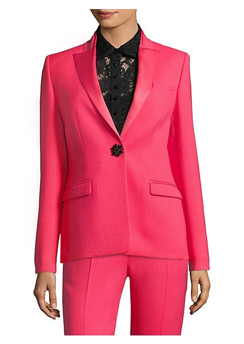 Image of Crafted in hot pink and flaunting a luxe jewel button accent, this tailored tuxedo jacket is the ultimate statement piece. Satin lapels and a rich knit finish add texture and a feminine touch to this menswear-inspired jacket. Satin winged lapels. Long sle