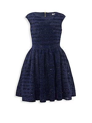 Image of Adorable boucle dress with sequin embellishments Roundneck Cap sleeves Exposed back zip Polyester Hand wash Made in UK. Children's Wear - Classic Children. David Charles. Color: Navy. Size: 7.