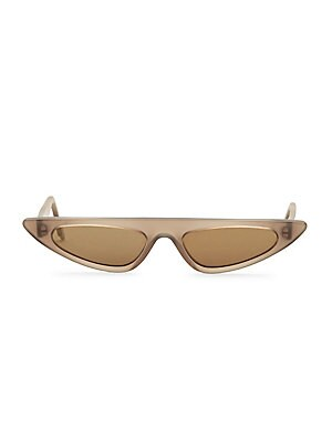 Image of Structural cat eye silhouette receives a narrow recreation 53mm lens width; 17mm bridge width; 140mm temple length Tinted yellow lenses Acetate Imported. Soft Accessorie - Sunglasses. Andy Wolf. Color: Black White.