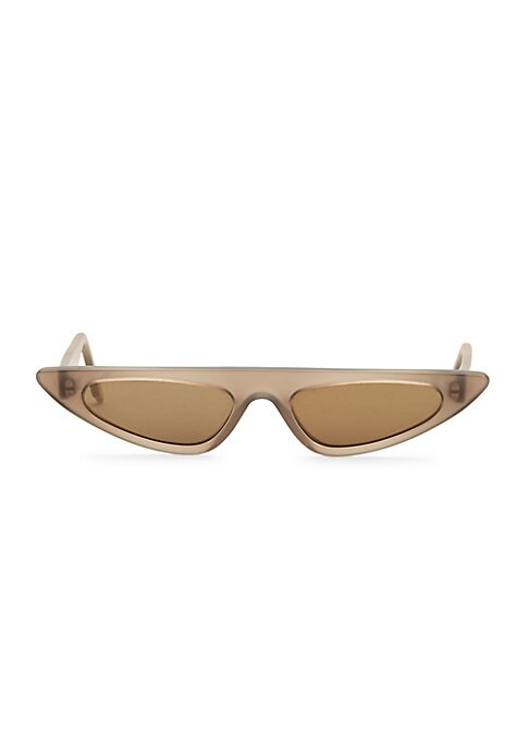 Image of Structural cat eye silhouette receives a narrow recreation.53mm lens width; 17mm bridge width; 140mm temple length. Tinted yellow lenses. Acetate. Imported.