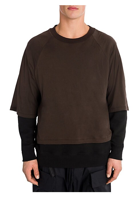 """Image of Athleisure style offers a layered look. Crewneck. Long sleeves.T-shirt overlayer. About 28"""" from shoulder to hem. Cotton. Rib: Cotton/elastane. Hand wash. Made in Italy."""