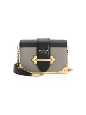 Small Cahier Leather Crossbody Bag by Prada