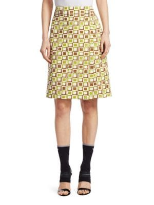 Logo-Patch Square-Print Cotton Skirt, Green Brown