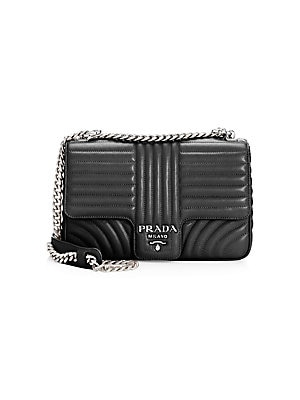 Prada - Large Diagramme Leather Shoulder Bag - saks.com a48c04298340c