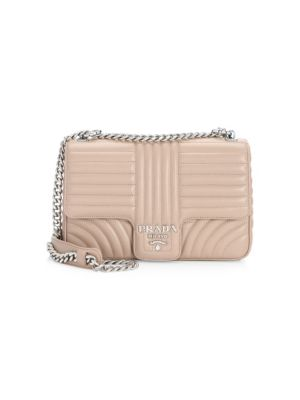 Prada Large Diagramme Shoulder Bag W  Chain Strap In Light Pink ... a9e1fc3bba418