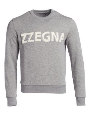 Z ZEGNA Logo Cotton Crewneck Sweatshirt in Grey White