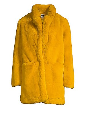 """Image of Luxurious faux fur jacket with an oversized fit and fluffy notch lapels. Notch lapels Long sleeves Concealed front closure Waist open pockets Lined Acrylic/polyester Fur type: Faux Dry clean Imported SIZE & FIT Oversized fit About 30"""" from shoulder to hem"""
