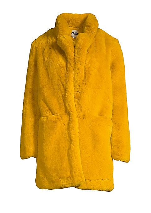 """Image of Luxurious faux fur jacket with an oversized fit and fluffy notch lapels. Notch lapels. Long sleeves. Concealed front closure. Waist open pockets. Lined. Acrylic/polyester. Fur type: Faux. Dry clean. Imported. SIZE & FIT. Oversized fit. About 30"""" from shou"""