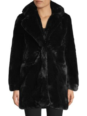 APPARIS Sophie Faux Fur Jacket in Black