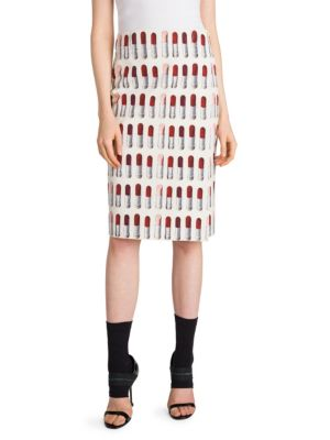 Lipstick Print Cotton Wrap Skirt in Neutrals