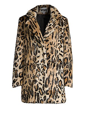 "Image of Striking oversized jacket made of plush faux fur with on-trend leopard print. Notch lapels Long sleeves Concealed front closure Waist open pockets Lined Acrylic/polyester Fur type: Faux Dry clean Imported SIZE & FIT Oversize fit About 30.5"" from shoulder"