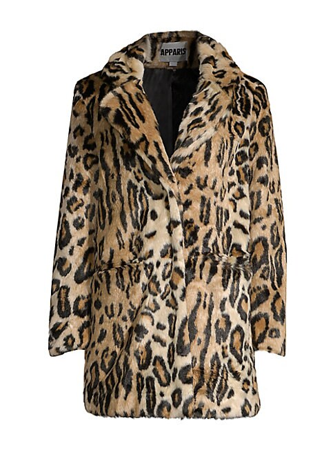 """Image of Striking oversized jacket made of plush faux fur with on-trend leopard print. Notch lapels. Long sleeves. Concealed front closure. Waist open pockets. Lined. Acrylic/polyester. Fur type: Faux. Dry clean. Imported. SIZE & FIT. Oversize fit. About 30.5"""" fro"""