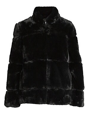 """Image of Luxurious faux-fur jacket features a quilted design and chic stand collar. Stand collar Long sleeves Concealed front closure Lined Acrylic/polyester Fur type: Faux Dry clean Imported SIZE & FIT About 27"""" from shoulder to hem Model shown is 5'10 (177cm) we"""