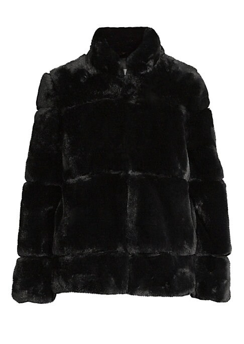 """Image of Luxurious faux-fur jacket features a quilted design and chic stand collar. Stand collar. Long sleeves. Concealed front closure. Lined. Acrylic/polyester. Fur type: Faux. Dry clean. Imported. SIZE & FIT. About 27"""" from shoulder to hem. Model shown is 5'10"""""""