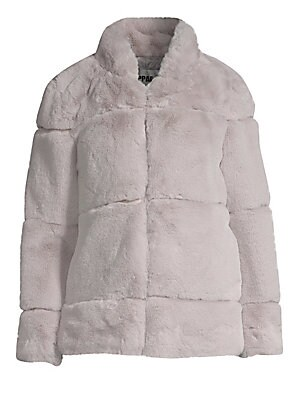 "Image of Luxurious faux-fur jacket features a quilted design and chic stand collar. Stand collar Long sleeves Concealed front closure Lined Acrylic/polyester Fur type: Faux Dry clean Imported SIZE & FIT About 27"" from shoulder to hem Model shown is 5'10 (177cm) we"