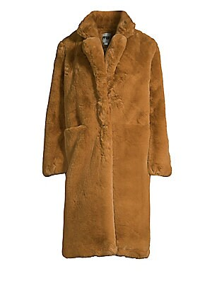 """Image of Chic, knee-lengh oversized jacket made from plush faux fur. Notch lapels Long sleeves Concealed front closure Waist open pockets Lined Acrylic/polyester Fur type: Faux Dry clean Imported SIZE & FIT About 41"""" from shoulder to hem Model shown is 5'10 (177cm"""