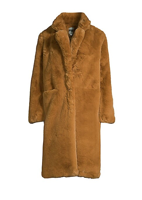 """Image of Chic, knee-lengh oversized jacket made from plush faux fur. Notch lapels. Long sleeves. Concealed front closure. Waist open pockets. Lined. Acrylic/polyester. Fur type: Faux. Dry clean. Imported. SIZE & FIT. About 41"""" from shoulder to hem. Model shown is"""