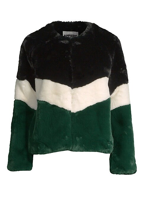 """Image of Bold colorblock jacket made of luxurious faux fur. Roundneck. Long sleeves. Concealed front closure. Lined. Acrylic/polyester. Fur type: Faux. Dry clean. Imported. SIZE & FIT. About 23"""" from shoulder to hem. Model shown is 5'10"""" (177cm) wearing US size Sm"""