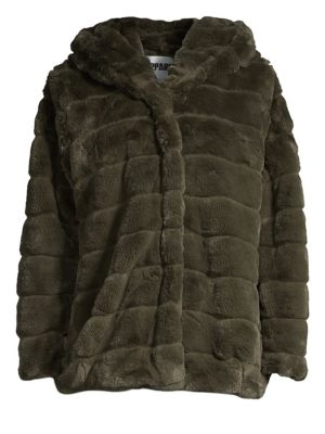APPARIS Goldie Faux Fur Hooded Jacket in Army Green