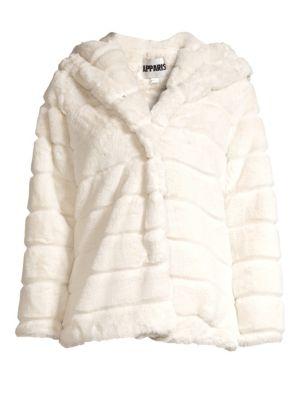 APPARIS Goldie Faux Fur Hooded Jacket in Ivory
