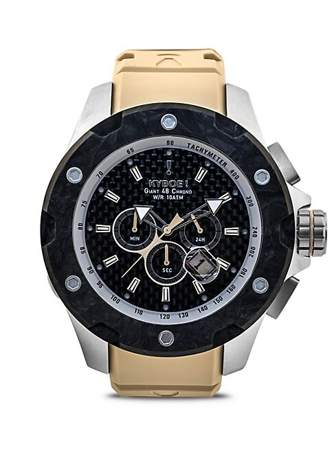 """Image of .Express your stylish, strong and winning spirit. Miyota FS10 quartz movement. Water resistant to 10 ATM. Round matte-finished stainless steel case, 48mm (1.89"""").Carbon fiber bezel. Bar hour markers. Sturdy screw-down crown. Genuine sapphire glass. Light"""
