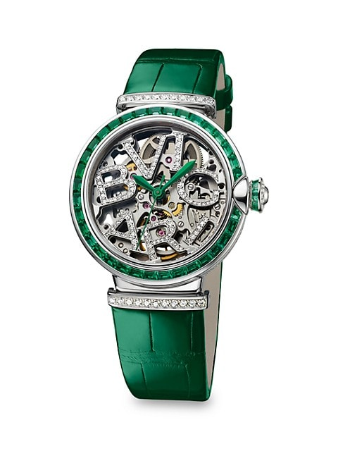 LVCEA 18K White Gold, Emerald, Diamond & Alligator Strap Skeleton Watch