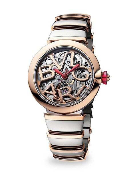 LVCEA Stainless Steel & 18K Rose Gold Bracelet Skeleton Watch