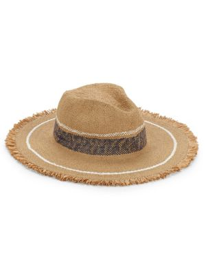 HAT ATTACK Continental Fringed Striped Hat in Toast