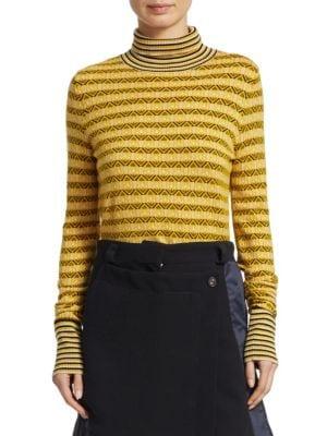 Wool-Blend Jacquard Turtleneck Sweater, Daffodil
