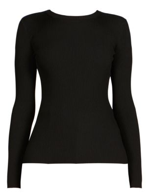 Back Logo Ribbed Sweater, Black