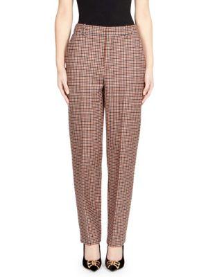 Plaid Straight-Leg Wool Pants, Brown