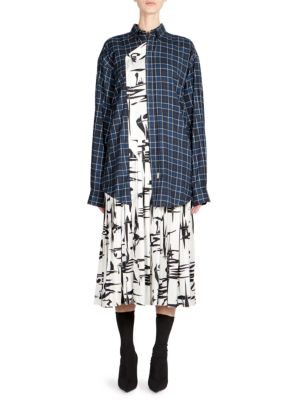 Black And White Shirt-Panel Cotton And Silk Dress, Black-White