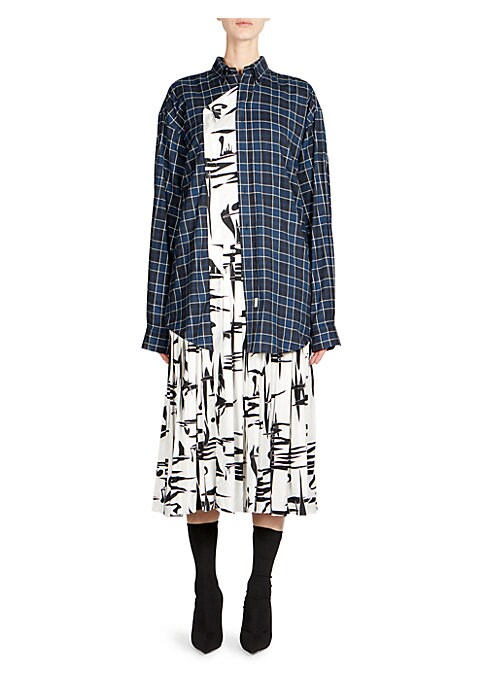 Image of From the Saks IT LIST. MAD FOR PLAID. See the traditional check in dozens of new ways. This contemporary midi is designed with a casual plaid layered look and fla. unts chic abstract printed finish. Crafted in luxe silk, its modern design hails an urban f