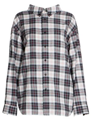 Swing Oversized Checked Cotton-Flannel Shirt, Black-White