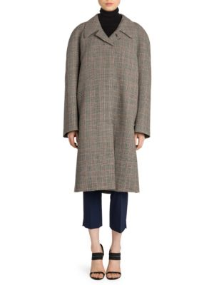 Belted Check Wool Coat, Black