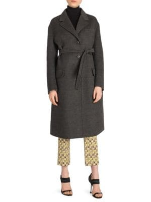 Wool Blend Belted Coat by Prada