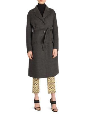 Wool Blend Belted Coat by Prada