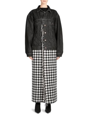 Button-Down Quilted Denim Jacket With Plaid Fringe Skirt in Black from STYLEBOP.com