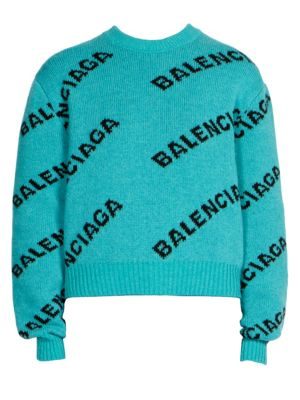 V-Neck Long-Sleeve Logo-Jacquard Wool Sweater, Turquoise
