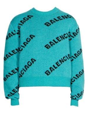 Intarsia-Knit Wool Oversized Sweater - Turquoise Size 40 Fr