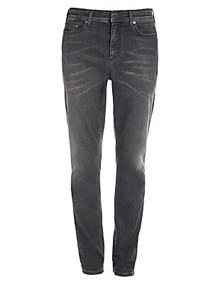 """Image of Punk-inspired skinny jean with light whiskered details Five pocket styling Zip fly Rise, 12.6"""" Inseam, 31"""" Cotton/polyester/polyurethane Machine wash Imported. Men Advcd Dsgnr - Men's Designer Rtw. Neil Barrett. Color: Slate. Size: 34."""