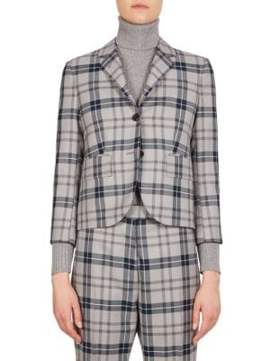 Tartan School Uniform Jacket, Grey